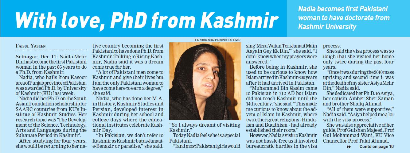 Nadia from Lahore completes phd from UMIKS, Kashmir-2