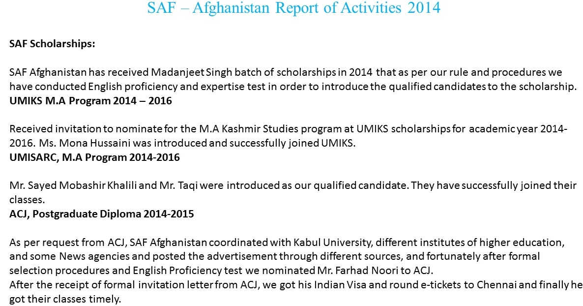SAF- Afghansitan,  Updated by Sunil Binjola