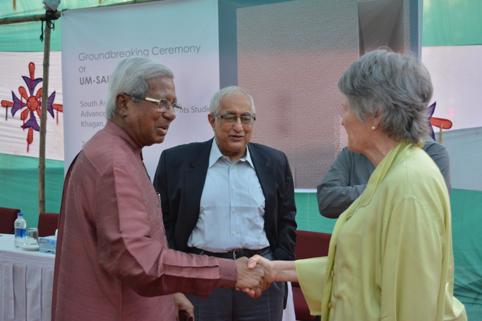 Left to Right :Sir Fazle Hasan Abed,Chairperson and Founder, BRAC , Prof Jamilur Raza Choudhary, Vice Chairperson, SAF- Bangaldesh,    Mme France Maruqet, Principal Trustee, South Asia Foundation, meeting during Groundbreaking ceremony of UMSAILS