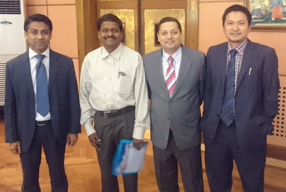 "Mr. Sangay Wangchuk, Program Director, UMCSAFS; Dr Nishchal N Pandey, Chairperson, SAF-Nepal; Prof. P. Thilakan,Head, UMSGET, and Abu Salah Md. Yousuf, former SAF Scholar at UMISARC at a regional conference in Kathmandu on ""Integrating Global Responses to Climate Change and Energy Security"" (July 7-8, 2015)."