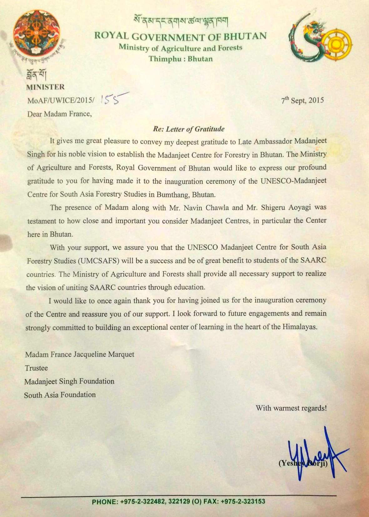 Letter of Gratitude from Lyonpo Yeshi to France Marquet Trustee South Asia Foundation and Madanjeet Singh Foundation