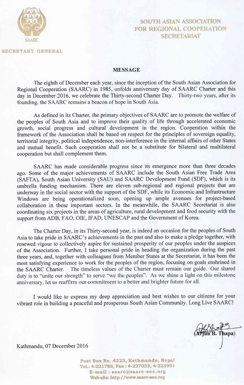 Message from H E Mr Arjun B Thapa , Secretary General of SAARC on the occassion of 32 SAARC Charted Day- outh Asia Foundation Apex Body of SAARC uploaded by Sunil Binjola Aksh