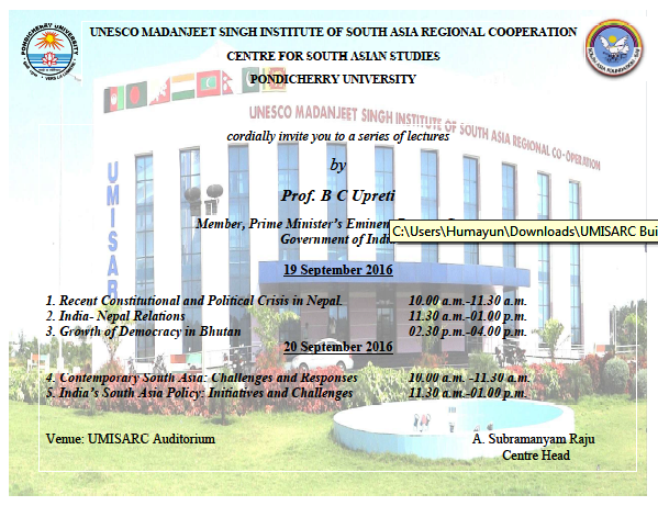 Guest Lectures invitation by Prof.B C Upreti, Member, Prime Minister's Eminent Persons Group, Government of India