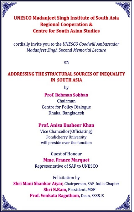 Addressing the Structural sources of Inequality in South Asia