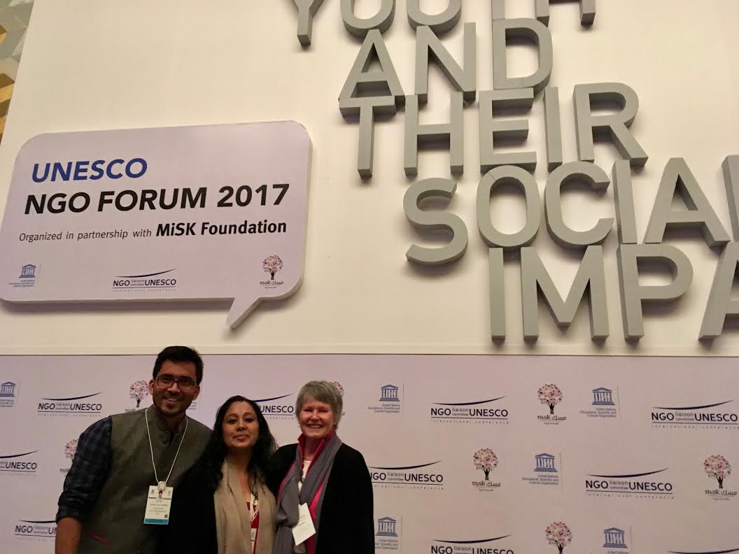 Ms Anita pariyar, Alumna With Mme France Marquet, Principal Trustee, Madanjeet Singh Foundation and SAF Representative to UNESCO