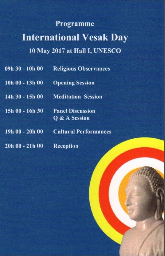 Programme of International Vesak Day on 10 May 2017