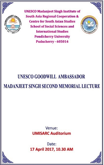 UNESCO Goodwill ambassador Madanjeet Singh Second Memorial Lecture