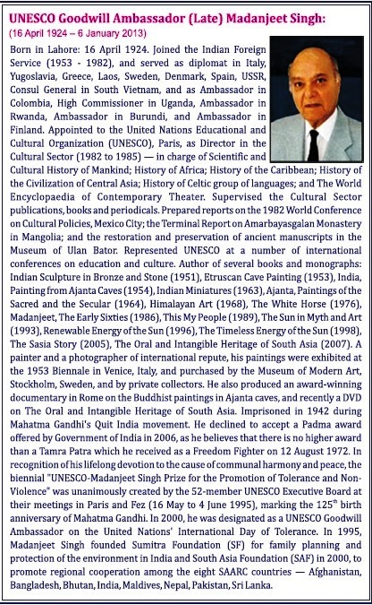 UNESCO Goodwill Ambassador Madanjeet Singh Short Writeup