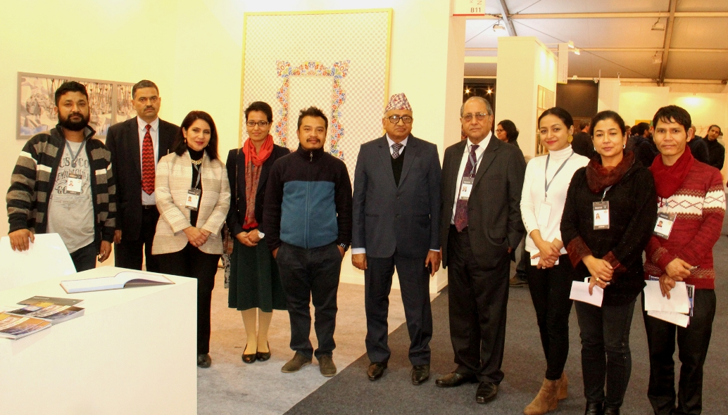 Group Photograph with H E Mr. Deep Kumar Upadhyay, Dr Dina Bangdel of Nepal Art Council