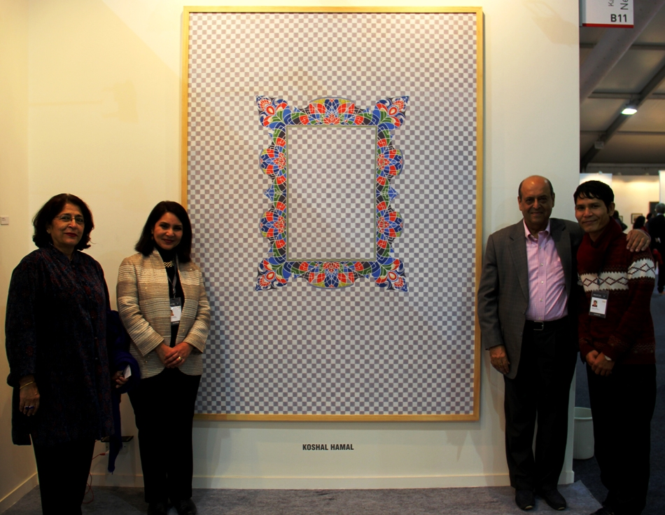 Mr Navin Chawla, Advisor, Madanjeet Singh Foundation Visits Mr Koshal Hamal's Art Work at India Art Fair