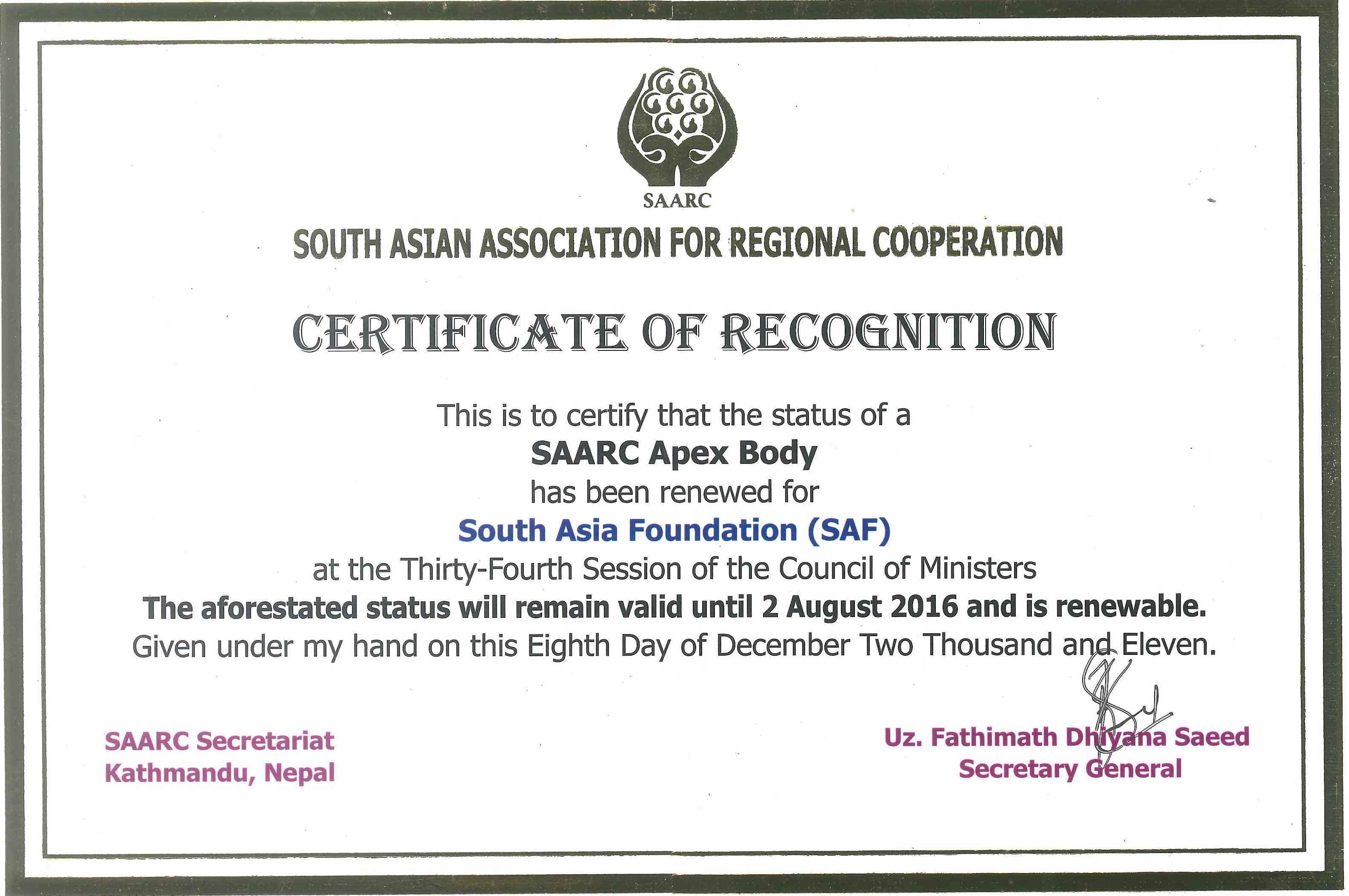 South Asia Foundation India SAARC Certificate Renewal for another 5 Years till 2 Aug 2016