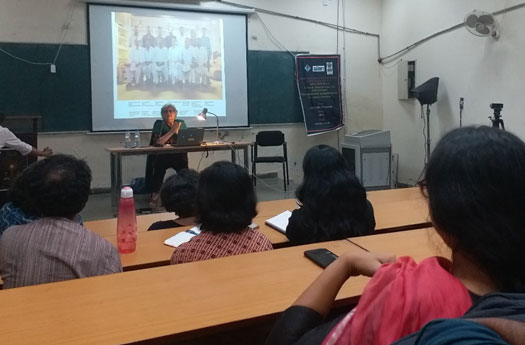 Salima Hashmi responding to a question-answer session at the end of her workshop at Ambedkar University, Delhi