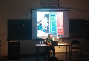 Salima Hashmi leading a workshop on Contemporary Art Education in Pakistan, with students at Ambedkar University, Delhi