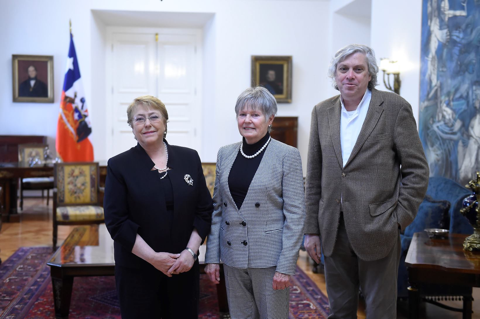 H.E. Michelle Bachelet, The President of Chile, receives Mme France Marquet, Trustee, Madanjeet Singh foundation and Mr Francisco  Javier Estevez Valencia, laureate 2014 of the UNESCO Madanjeet Singh prize for the promotion of tolerance and non-violence