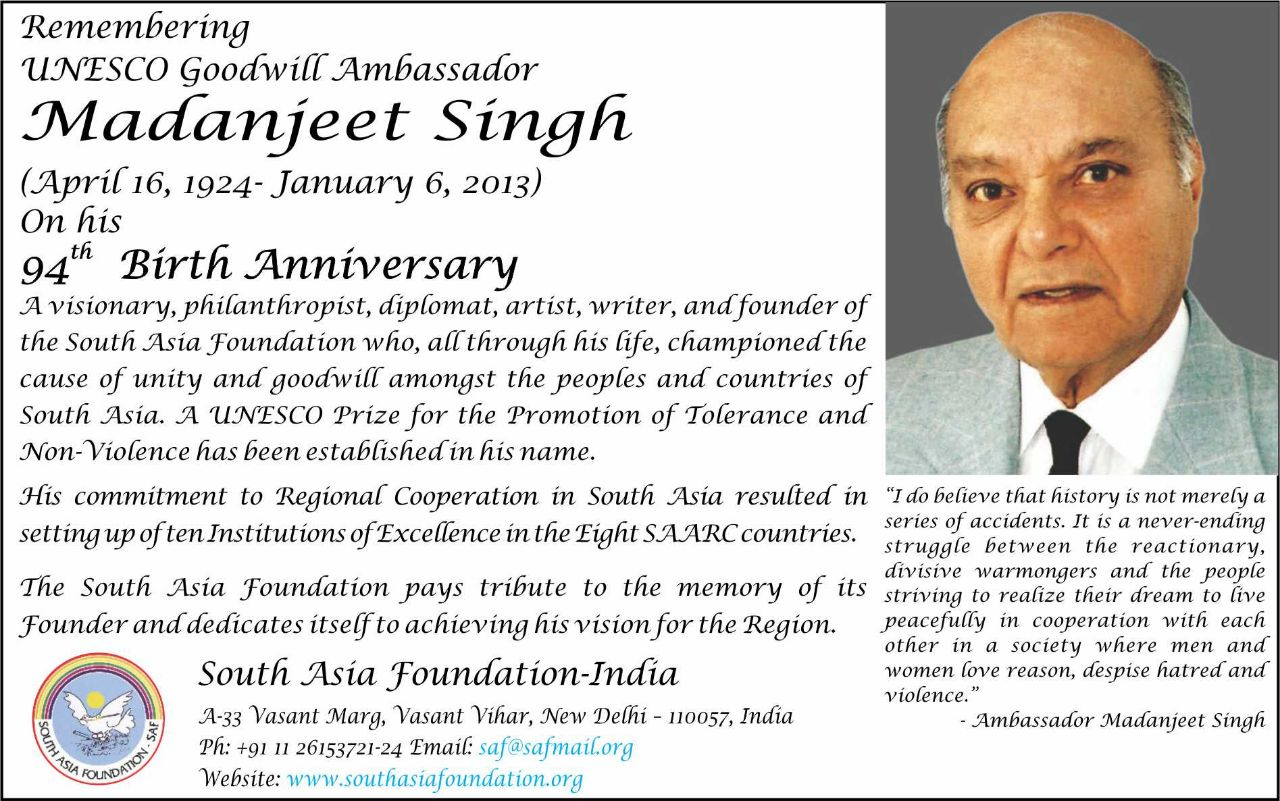 Homage to UNESCO Goodwill Amb Madanjeet Singh
