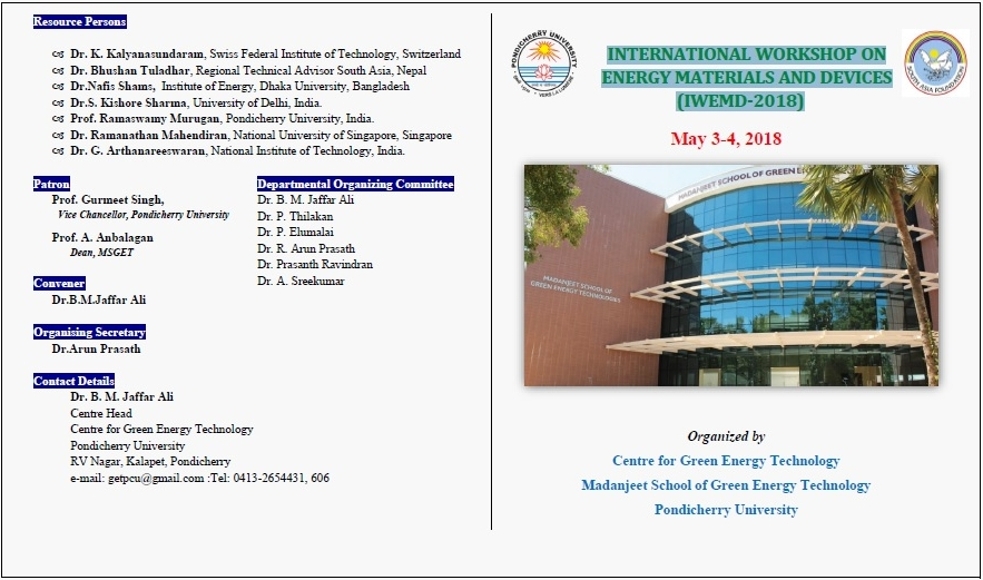 International workshop on energy materials and devices(IWEMD-2018)