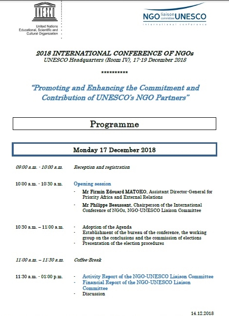 International Conference of NGOs 2018