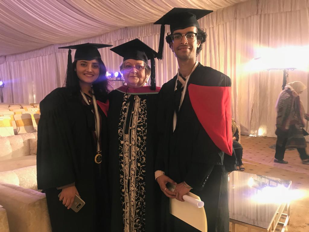Ms. Samyukta and Mr. Siddhanta with their medals at BNU convocation