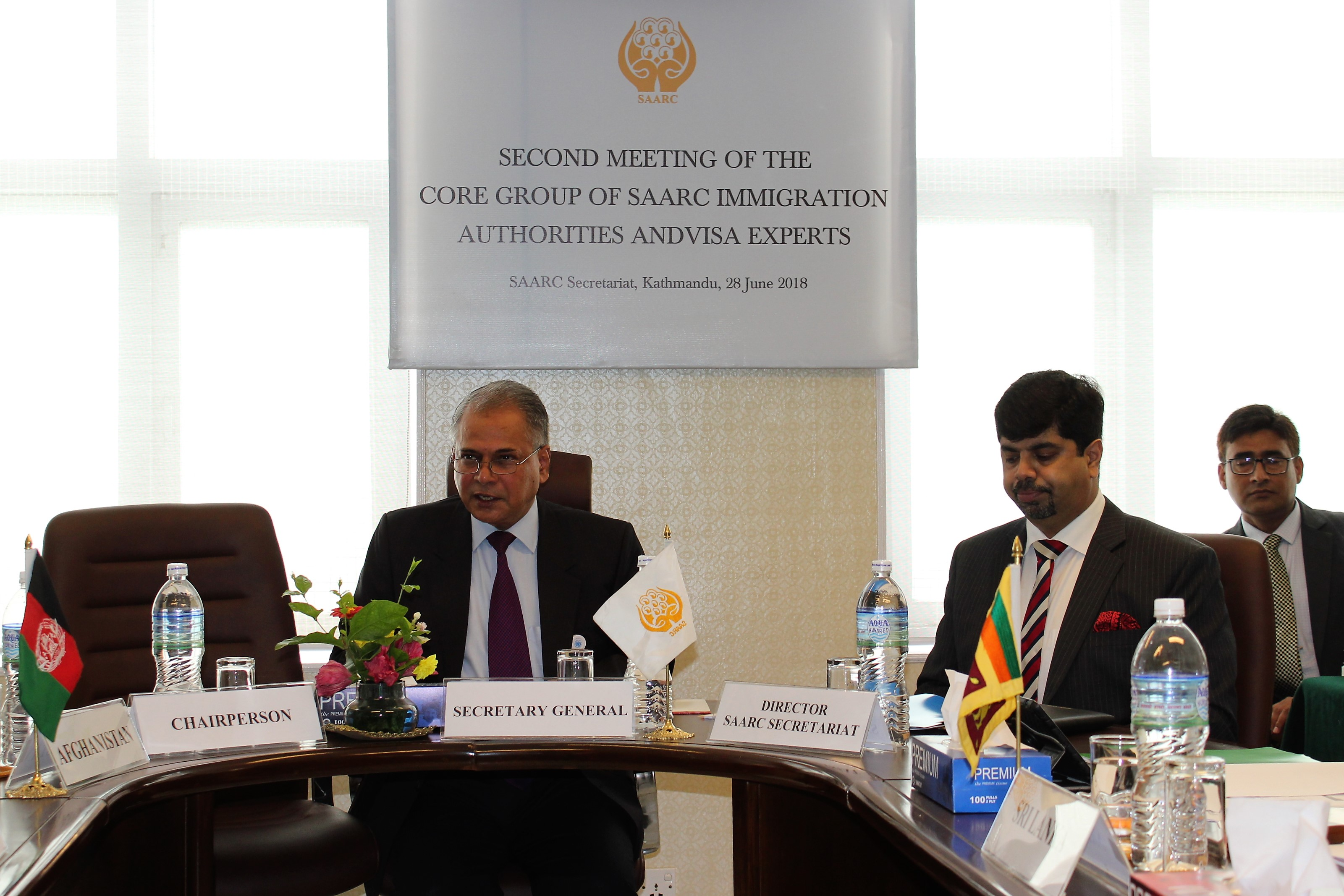 Addressing the meeting of the Core Group, H. E. Mr. Amjad Hussain B. Sial, Secretary General of SAARC