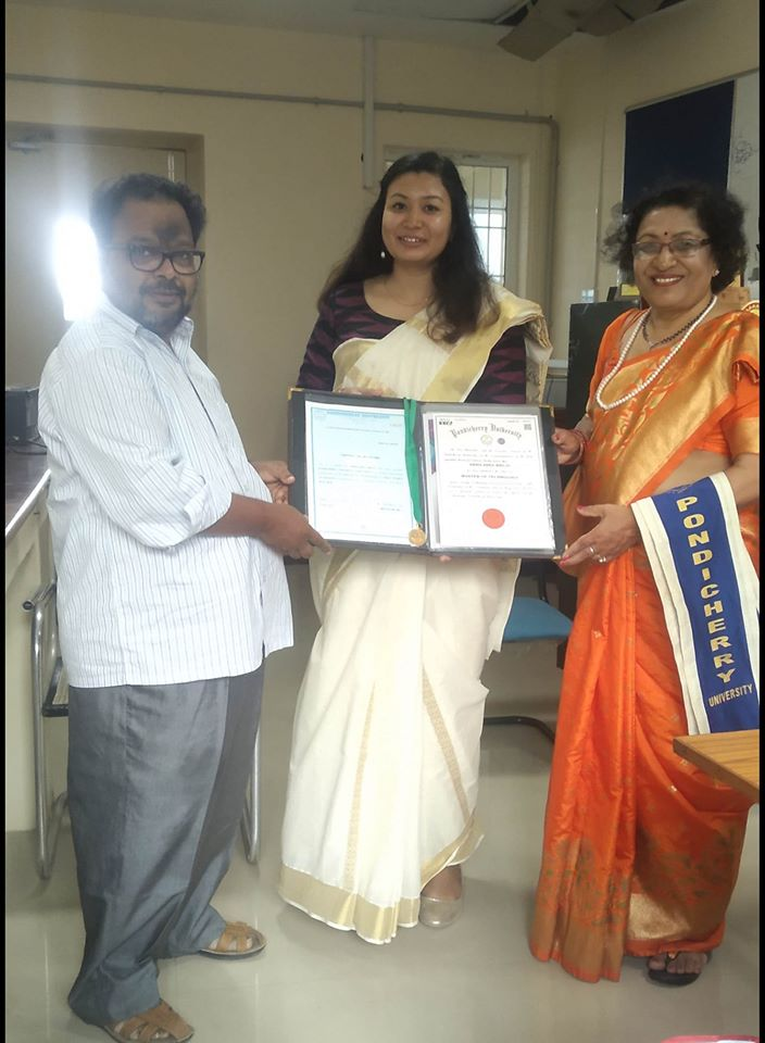 M.Tech. student Ms.Abhilasha Bhuju of Pondicherry University