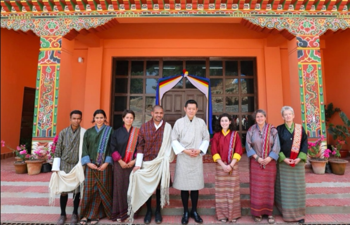 SAF-Nepal student in Bhutan Mr. Sunil Sapkota with His Majesty the King of Bhutan