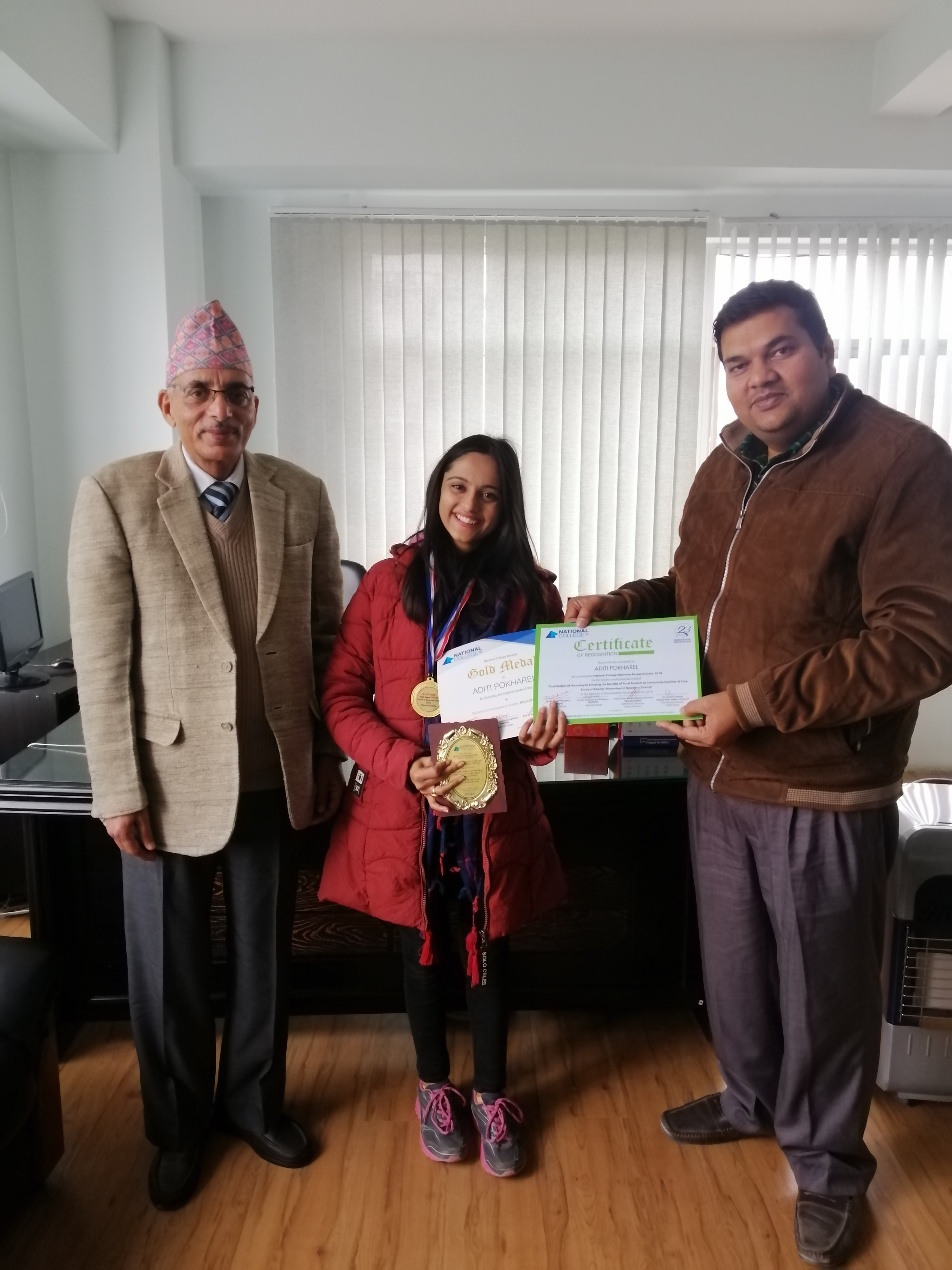 Ms. Aditi Pokharel, SAF Nepal scholar received Gold Medal in her bachelors studies from the Kathmandu University